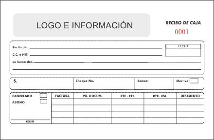 Impresi n recibo de caja litograf a rocco gr ficas for Nomina en blanco para rellenar word